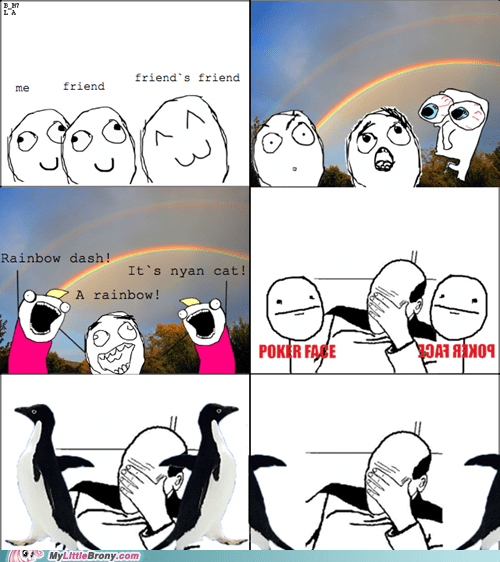 Rage Comics,socially awkward penguin,rainbows