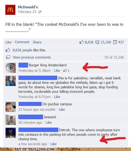 McDonald's,facebook,burger king