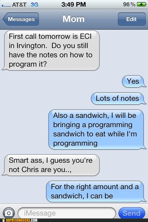bribery,sandwich,wrong number,g rated,AutocoWrecks