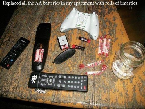 smarties,remote controls,batteries,pranks