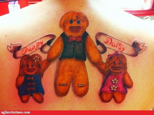 back tattoos,family,ginger bread men