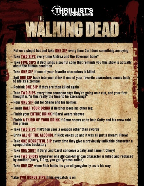 drinking games TV The Walking Dead thrillist after 12
