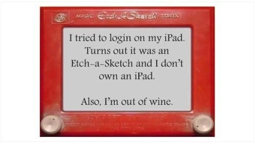 Etch A Sketch,ipad,wine