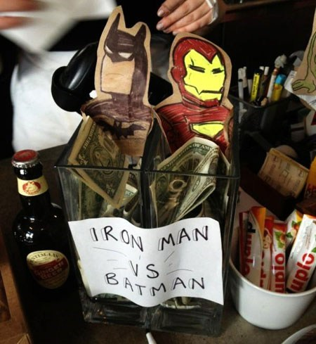 tip jars iron man batman