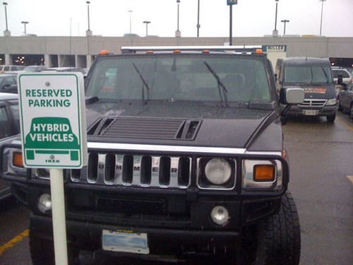 hybrid cars,hummer,parking spaces,parking lots
