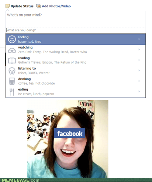 overly attached girlfriend,facebook,statuses
