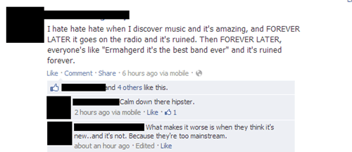 Music hipster mainstream bands