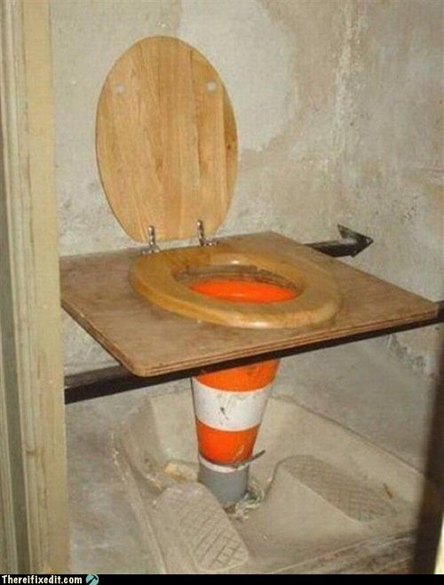 port-a-johns,oranges cones,toilets