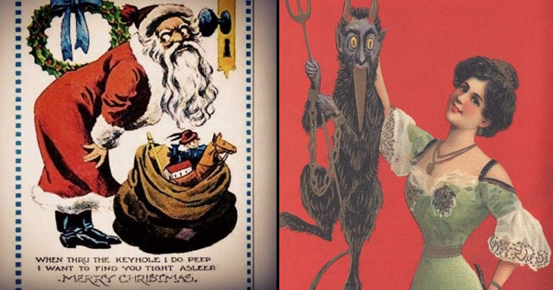 Christmas cards, vintage cards, creepy memes | illustration of a creepy looking santa with bulging eyes bending over a bag of toys THRU KEYHOLE DO PEEP WANT FIND TIGHT ASLEEP MERRY CHRISTMAS. smiling woman in vintage clothing holding krampus devil by it's nape
