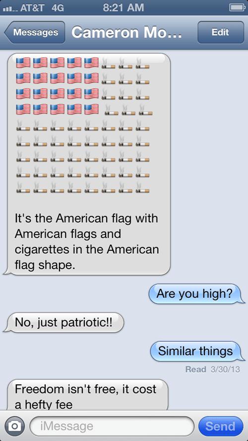 American Flag cigarettes merica texting - 7264446976
