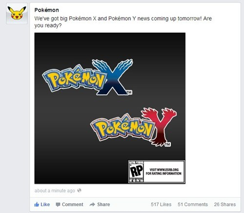 excited gen VI Pokémon twitter news pokemon x/y - 7266427648