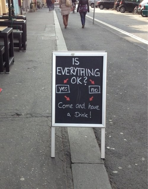 is everything OK bars chalkboards flow chart