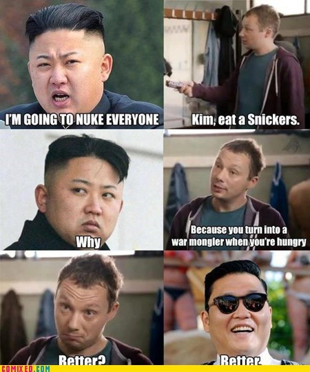 kim jong-un,solutions,psy,snickers
