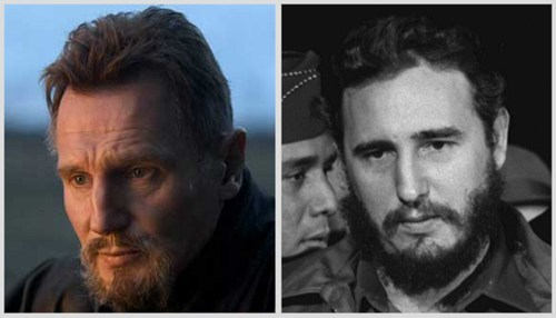 liam neeson,totally looks like,Fidel Castro,beards