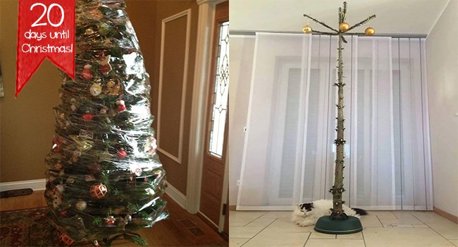 christmas christmas tree cat proof life hacks brilliant - 7287813
