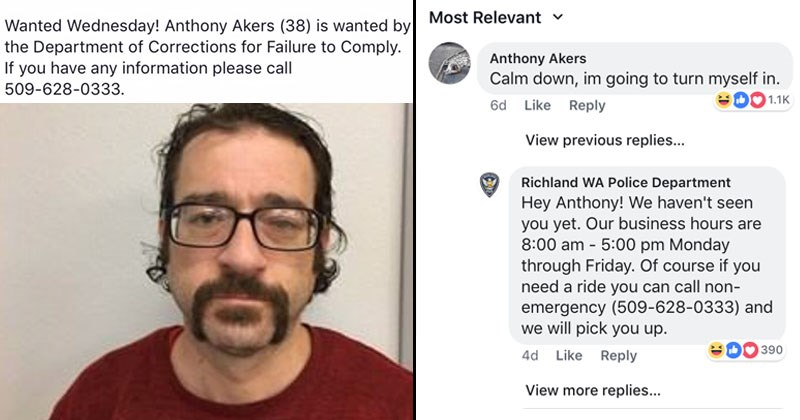 Funny facebook posts, criminals, richland wa police department | Anthony Akers is posted about by Richmond WA Police dept and then has comment section chat with them, eventually turning himself into the police