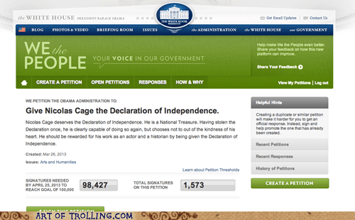 White house,the declaration of independence,nicolas cage,white house petitions