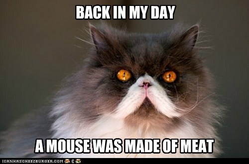 BACK IN MY DAY A MOUSE WAS MADE OF MEAT