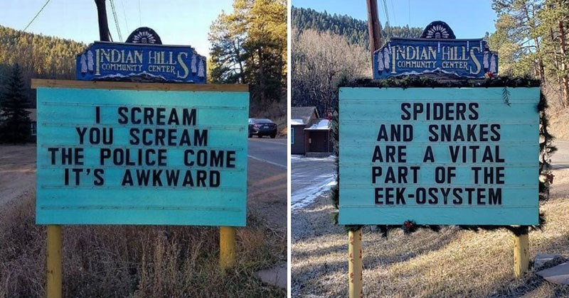 Indian Hills community center, colorado, funny signs, puns.