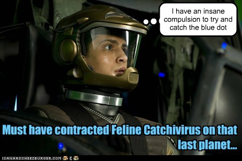 I have an insane compulsion to try and catch the blue dot Must have contracted Feline Catchivirus on that last planet...