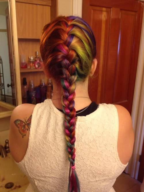 hair,braid,pretty colors