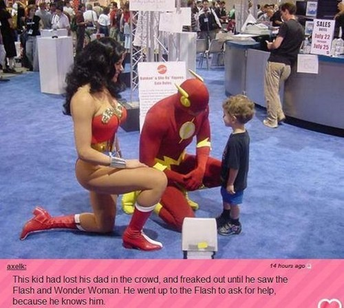 random act of kindness,super heroes,convention,g rated,win