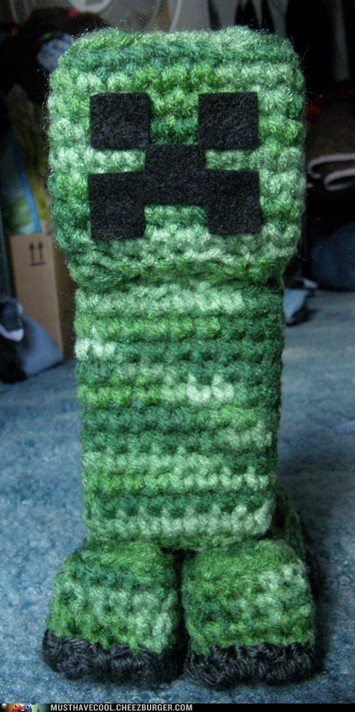 creeper,nerdgasm,minecraft,Amigurumi,video games