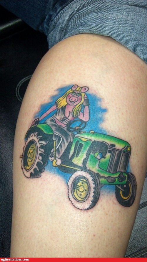 the muppets,tractors,leg tattoos,miss piggy,g rated,Ugliest Tattoos