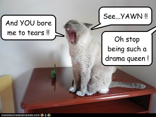 And YOU bore me to tears !! See...YAWN !! Oh stop being such a drama queen !