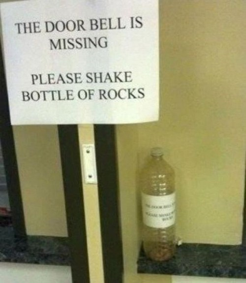 rocks door bell bottles g rated there I fixed it