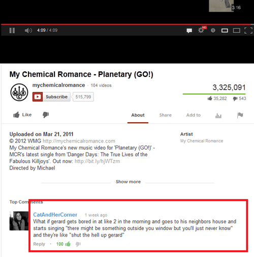 gerard way,my chemical romance,youtube comments