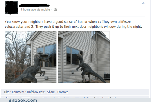 neighbors jurassic park dinosaurs velociraptor failbook g rated - 7303976192
