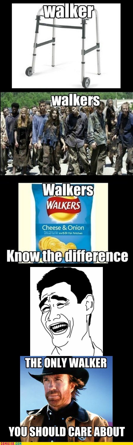 chips,walkers,zombie,old people,chuck norris