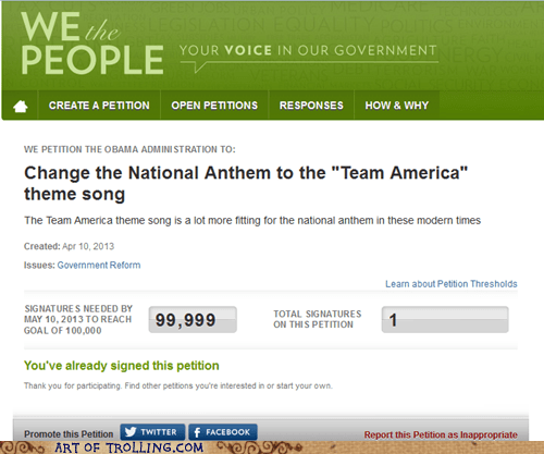 White house,Team America,white house petitions