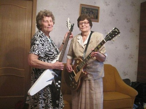 rocking out,guitars,old ladies