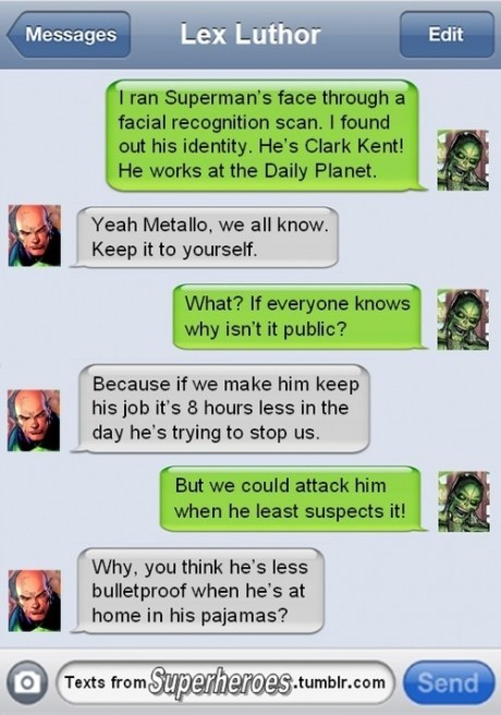 texts,lex luthor,metallo