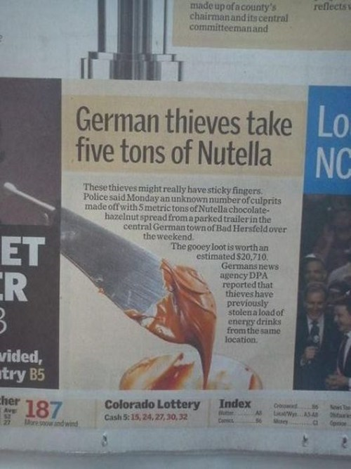 news nutella heist theft