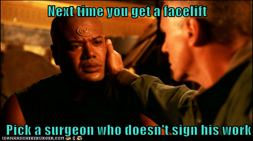 Next time you get a facelift Pick a surgeon who doesn't sign his work