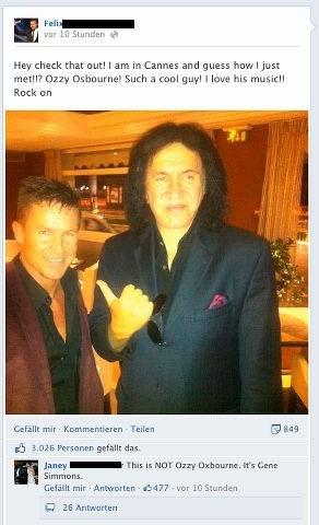 KISS facebook Gene Simmons Ozzy Osbourne