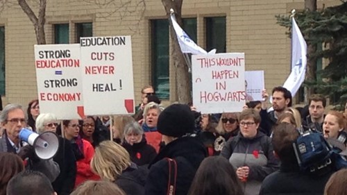 Protest budget cuts Hogwarts g rated School of FAIL