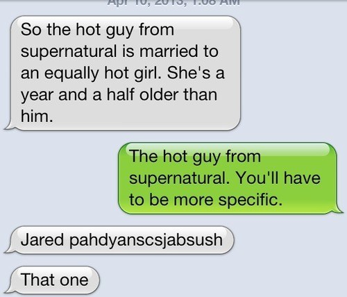 Supernatural,Jared Padalecki,sms