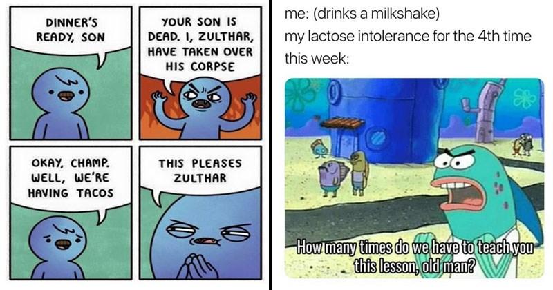 Random funny memes, funny memes, tweets, twitter, social media, web comics, tacos, funny, lactose intolerance.