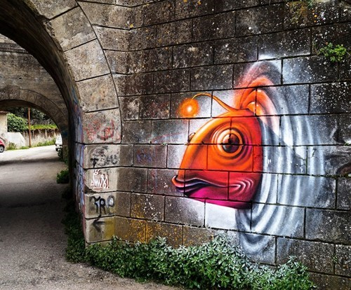 Street Art graffiti hacked irl fish - 7317875712