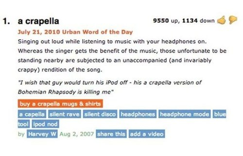 urban dictionary a cappella definitions