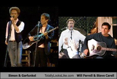 simon & garfunkel,guitars,steve carell,totally looks like,Will Ferrell