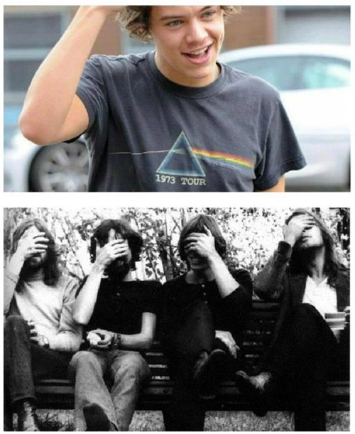 one direction harry styles pink floyd t shirts face palms