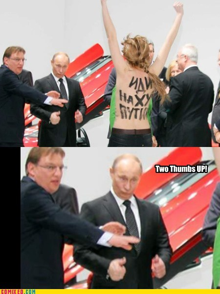 femen thumbs up protests Putin wtf