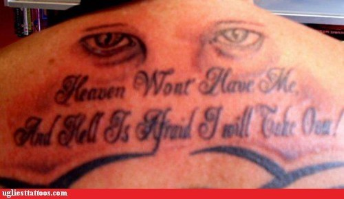 back tattoos,eyeballs,quotes