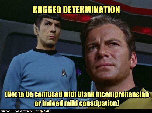 RUGGED DETERMINATION (Not to be confused with blank incomprehension or indeed mild constipation)