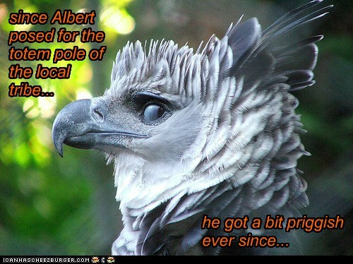 since Albert posed for the totem pole of the local tribe... he got a bit priggish ever since...